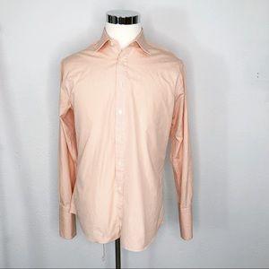 Charles Tyrwhitt Orange Plaid French Cuff Shirt